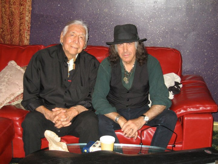 "2007. Floyd ""Red Crow"" Westerman. Photo of Pete Sears and Floyd taken backstage at the ""Mint"" in Los Angeles before a show they played together. Floyd went into hospital the next day."
